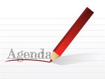 Pencil writing the word Agenda. illustration Stock Photos
