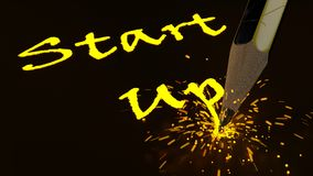 Pencil writing the yellow glowing word startup creating sparks vector illustration
