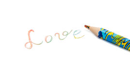 Pencil writting & x22;love& x22; Stock Images