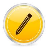 Pencil yellow circle icon Stock Photo