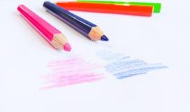 Pencilcolor na tle Fotografia Stock