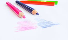 Pencilcolor su fondo Fotografia Stock
