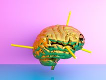 Pencile injection into the brain . Minimal concept idea.3d rende Royalty Free Illustration