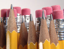 Pencils. Photo of Pencil Points and Erasers - Part of Series royalty free stock photos