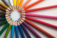 Pencils. Color pencils on white, circle Stock Photos