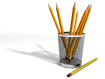 Pencils. In Mac trash can Stock Photo
