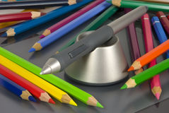 Pencils. Drawing pencil with color crayons on the background Stock Photos