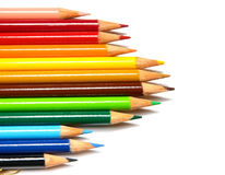 Pencils. Set of crayons on a white background stock images