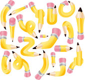Pencils. A Collection of various pencil Illustrations on a isolated white background Royalty Free Illustration