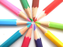 Pencils. The pencils of different bright colors for arts Stock Photos
