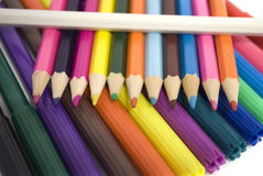 Pencils. Accessories to drawing, pencils and felt-tip pens Royalty Free Stock Photos
