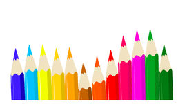 Pencils. Several pencils work simple colors and white background Royalty Free Stock Photo