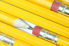 Pencils. Abstract design of many pencils showing erasers and sharpened pencils Stock Photo