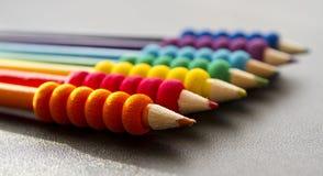 Pencils. Colored pencils on a desk stock image