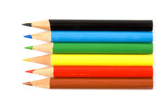 Pencils. Six coloured pencils isolated over white background Stock Photography