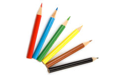 Pencils. Six coloured pencils isolated over white Stock Photography