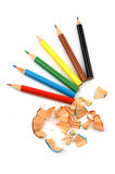 Pencils. Six  coloured pencils and chip isolated over white background Royalty Free Stock Photo
