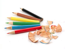 Pencils. Six  coloured pencils and chip isolated over white background Stock Photography