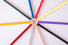 Pencils. In different colors arranged royalty free stock photo