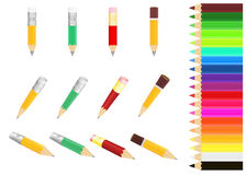 Pencils. Vector image  set  pencils  different  colour Royalty Free Stock Photo