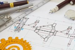 Pencils. Engineering drawing on drawing desk with rulers and pencils Royalty Free Stock Photography