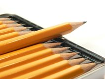 Pencils. Box close up shot on white background Stock Photography