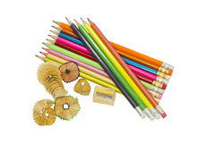 Pencils. Pencils of different colors, pencil sharpener and eraser royalty free stock photo