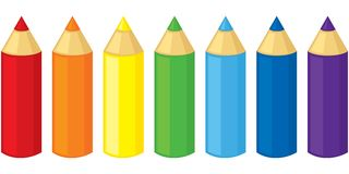 Pencils. Set of colored pencils of seven colors Stock Images