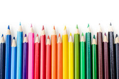 Pencils. Colour pencils on white background close up royalty free stock image