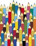 Pencils. Multicolour pencils pattern on white vector illustration