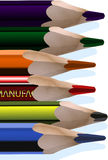 Pencils. Six pencils in a row (vector Stock Photography