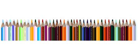 Pencils. Lots of pencils in a row (vector Royalty Free Stock Images