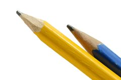 Pencils. Close-up of two pencils on white background Stock Images