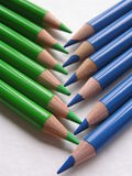 Pencils. Set of blue and green pencils Royalty Free Stock Image