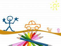 Pencils. Illustration of pencils for kids and schools royalty free illustration