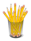 Pencils. A whole bunch of yellow pencils with erasers in a desk organizer for home, office, arts, crafts, back to school projects. EPS8 organized in groups for Stock Photo