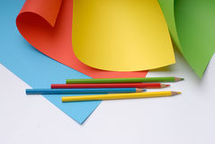 Pencils. A pack of colour pencils and paper Royalty Free Stock Image