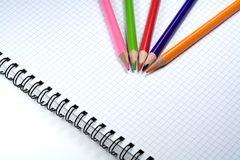 Pencils. And notebook royalty free stock photos