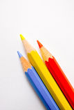 Pencils. Three colored pencils on white background Stock Photography
