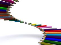 Pencils. Staircase of color pencils. 3D Royalty Free Stock Images