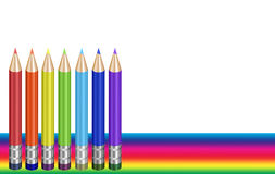 Pencils. A row of rainbow colored pencils over white. Art illustration Royalty Free Stock Image