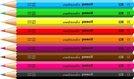 pencils akvarell stock illustrationer