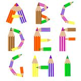 Pencils alphabet A-I Royalty Free Stock Photo
