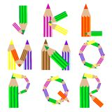 Pencils alphabet J-R Stock Photos