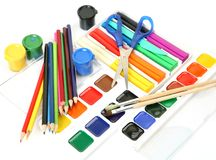Pencils And Paints Stock Photography