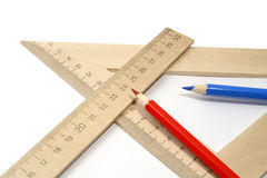 Pencils And Rulers Royalty Free Stock Photos