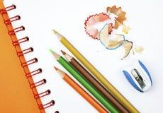 Pencils And Sharpener Stock Photo