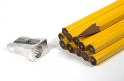 Pencils And Sharpener Royalty Free Stock Photography