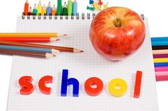 Pencils and apple - concept school Stock Photos