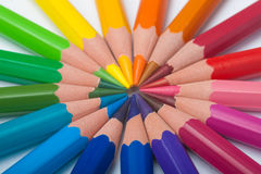 Pencils arrange in color wheel Royalty Free Stock Image